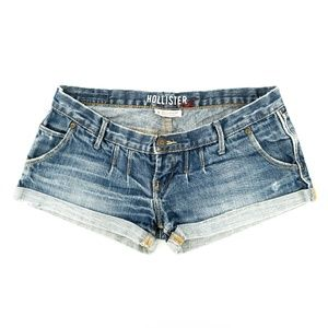 Hollister Jean Shorts Cuffed Distressed Low Rise 0